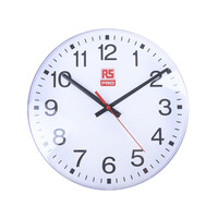 RS PRO White Wall Clock, 300mm (4409568)