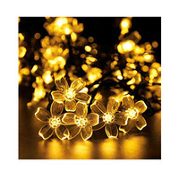 Dây đèn LED trang trí dài 5m, 20 bóng hình hoa anh đào có điều khiển từ xa dùng pin