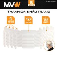Thanh cài khẩu trang 150x20mm MVW TM-03 nhựa dẻo trắng (10 cái/túi)