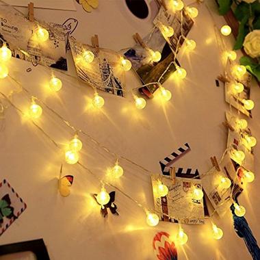 Dây đèn LED trang trí dài 5m, 20 bóng tròn dùng pin