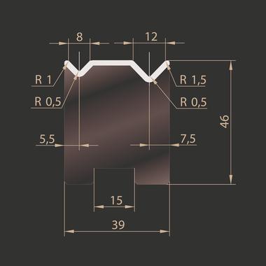 Cối chấn trượt 2V88-8/12 kích thước 46x835 Eurostamp JES205200835